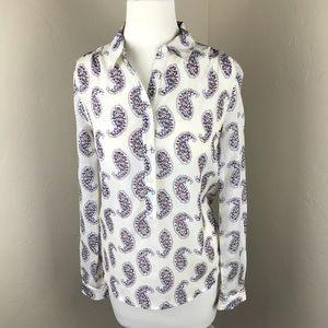 NWT!! LOFT White Paisley Print Button Up Shirt